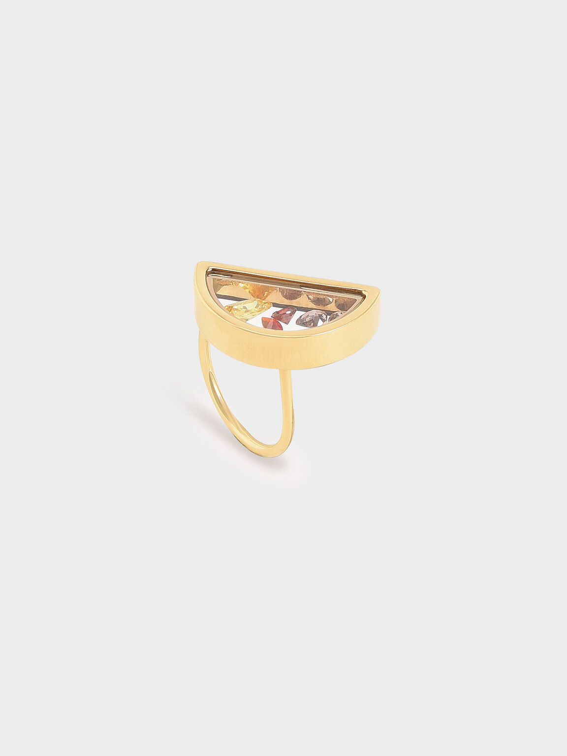 Semi-Circle Floating Locket Ring, Gold, hi-res