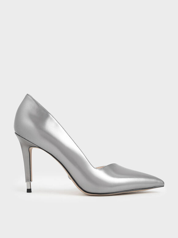Metallic Leather D'Orsay Pumps, Silver, hi-res