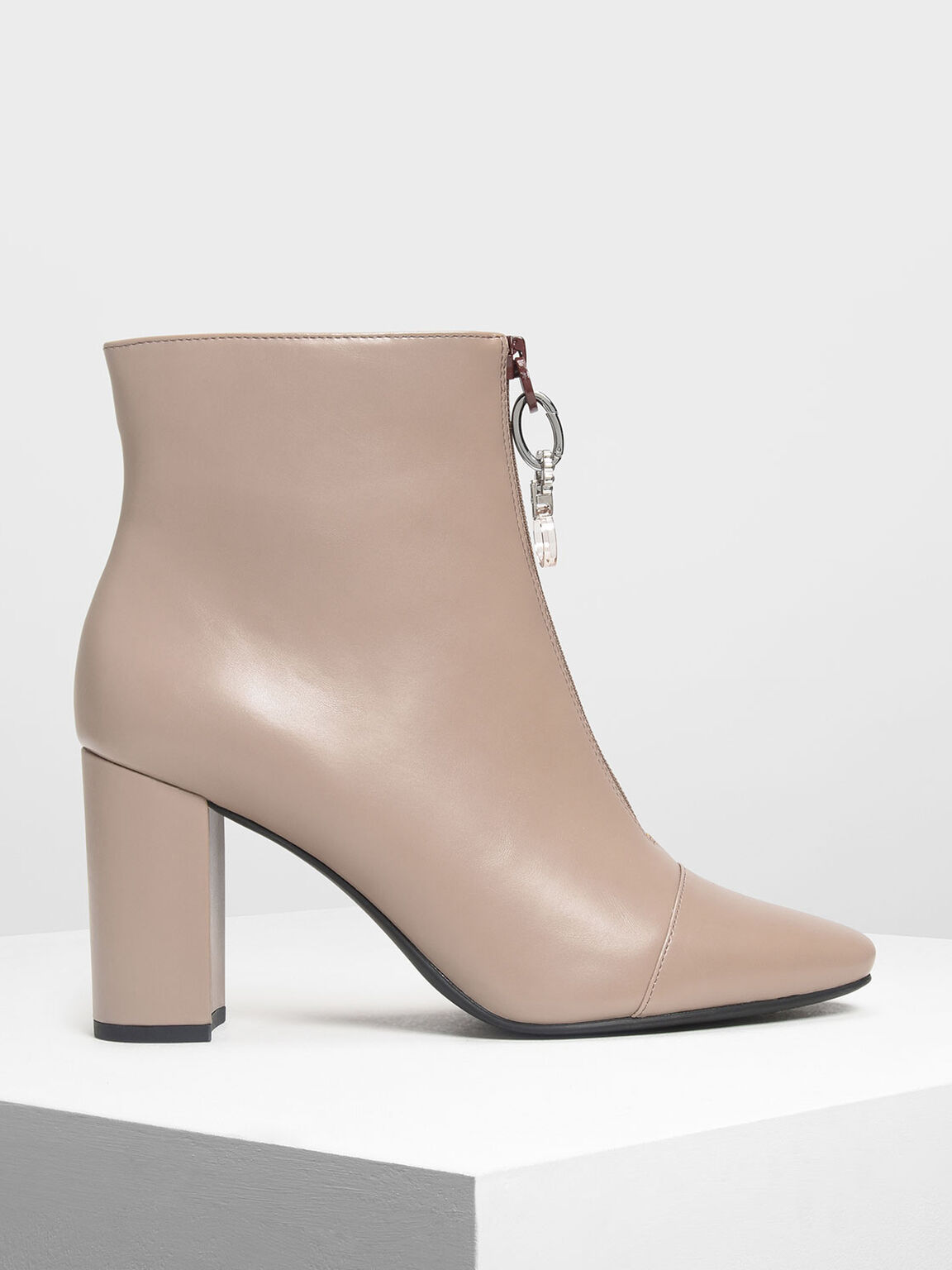Zipper Calf Boots, Taupe, hi-res
