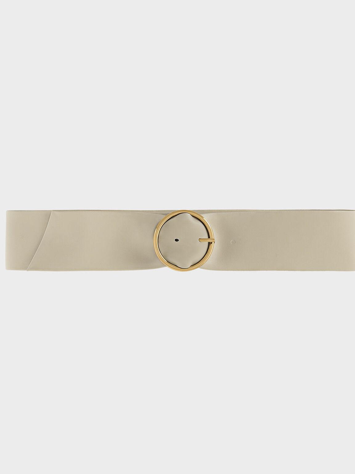 Circular Buckle Belt, Ivory, hi-res