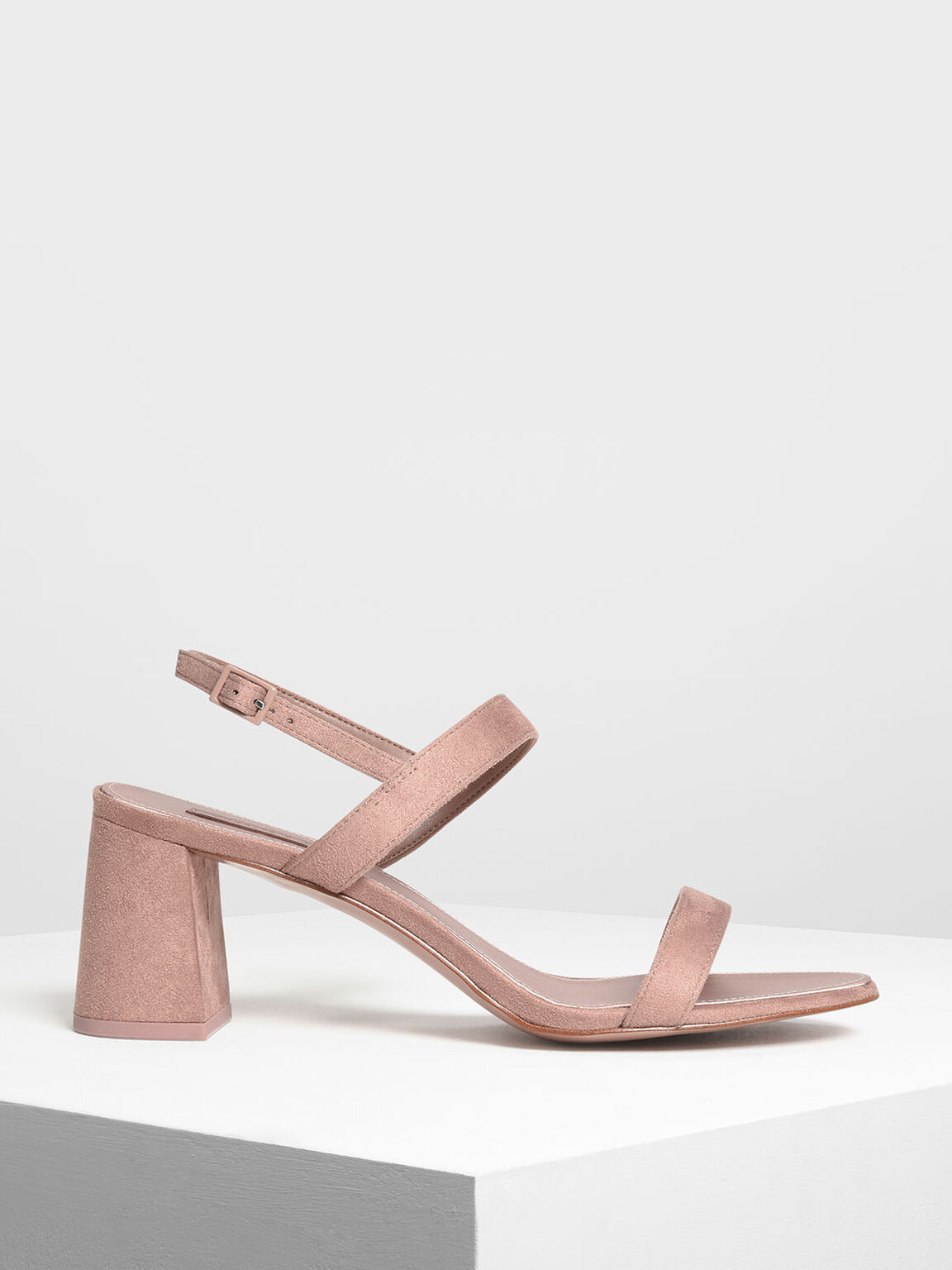 Flare Block Heel Sandals, Nude, hi-res