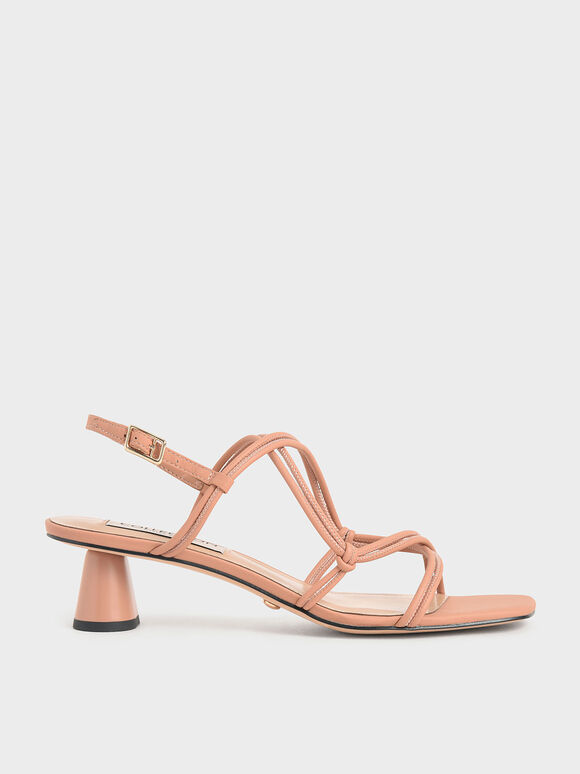 Leather Strappy Knotted Sandals, Tan, hi-res