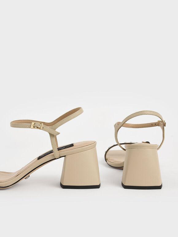 Studded Leather Heeled Sandals, Beige, hi-res