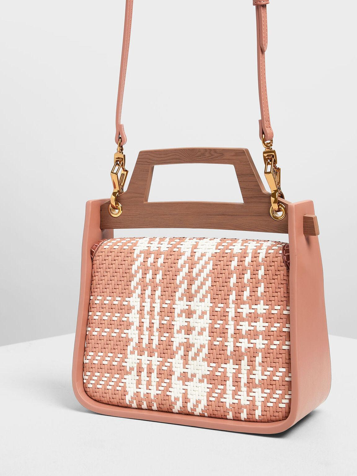Woven Wood-Effect Top Handle Bag, Clay, hi-res