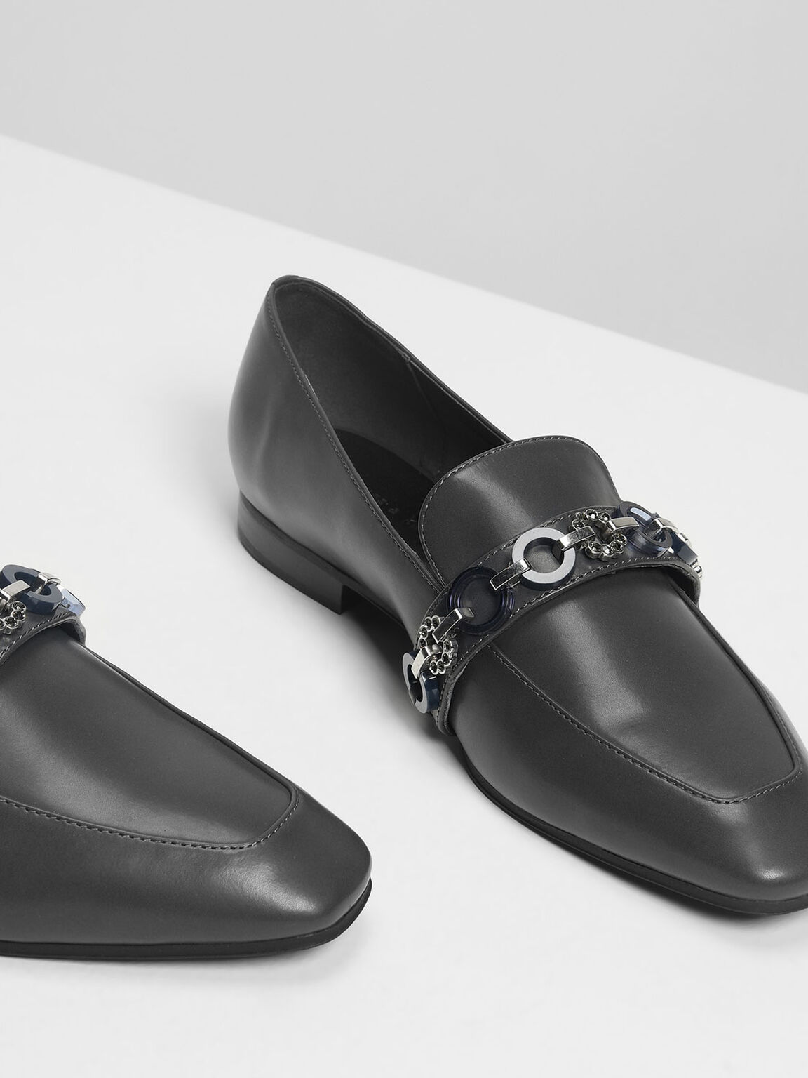 Chain Detail Loafers, Grey, hi-res