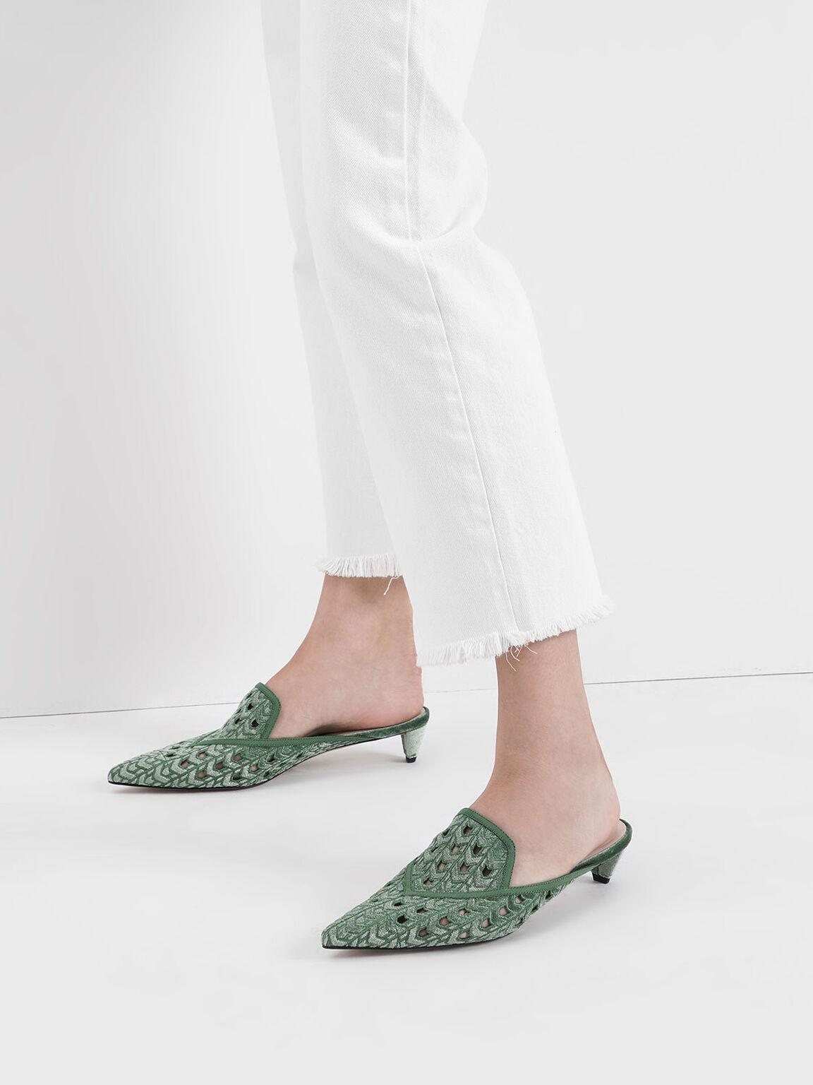 天鵝絨鏤空低跟鞋, 綠色, hi-res