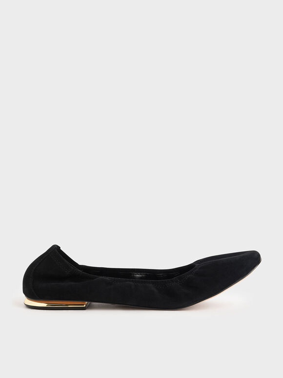 Ruched Ballerina Flats (Kid Suede), Black, hi-res