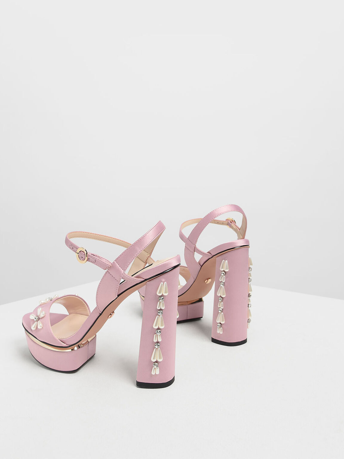 Floral Embellished Satin Platforms, Pink, hi-res