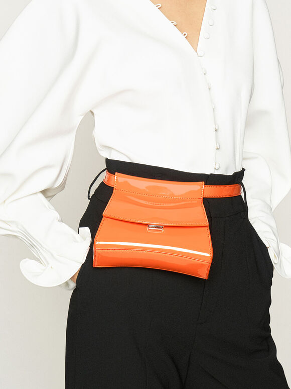 Patent Belt Bag, Orange, hi-res