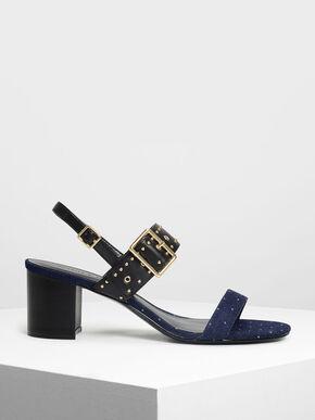 Studded Slingbacks, Dark Blue