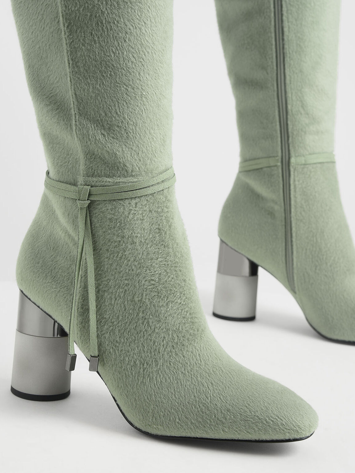 Concrete Heel Knee-High Boots, Sage Green, hi-res