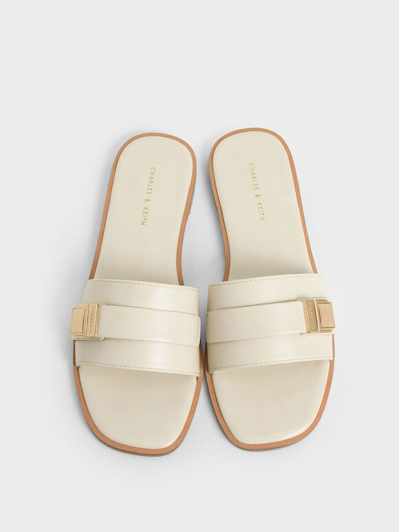 金屬方扣拖鞋, 石灰白, hi-res