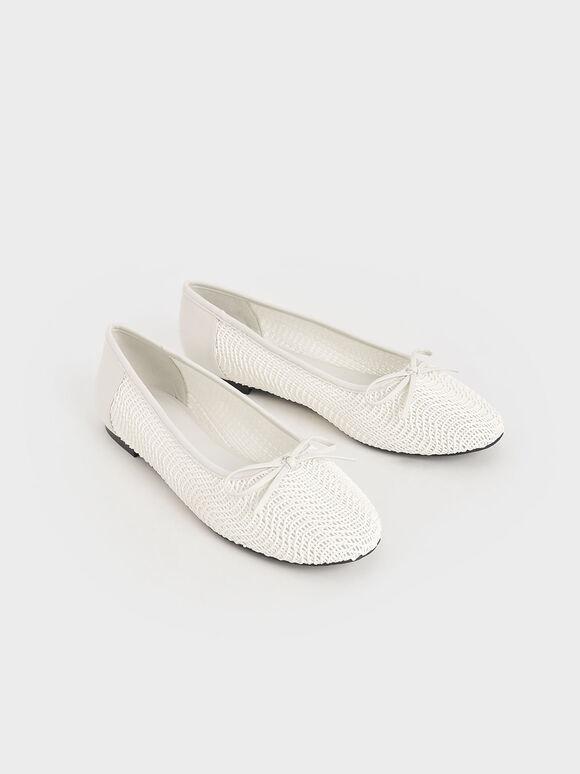 蝴蝶結編織娃娃鞋, 石灰白, hi-res
