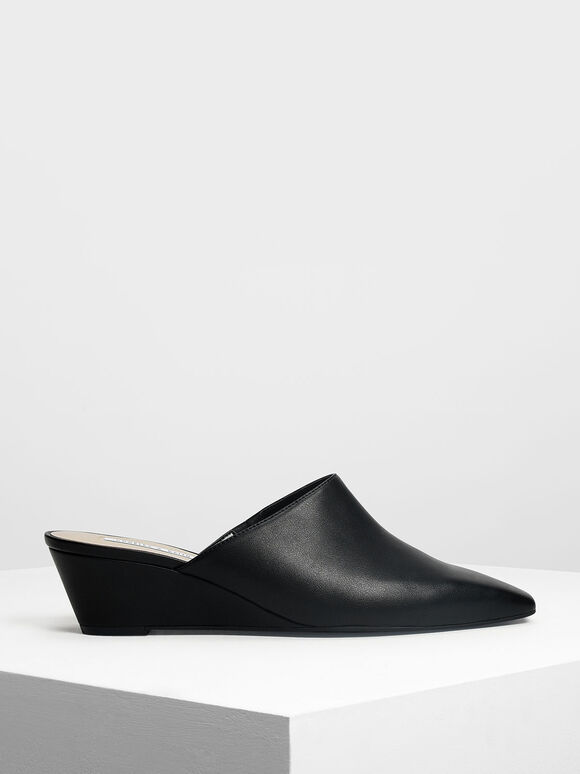 Closed Toe Low Wedge Mules, Black, hi-res