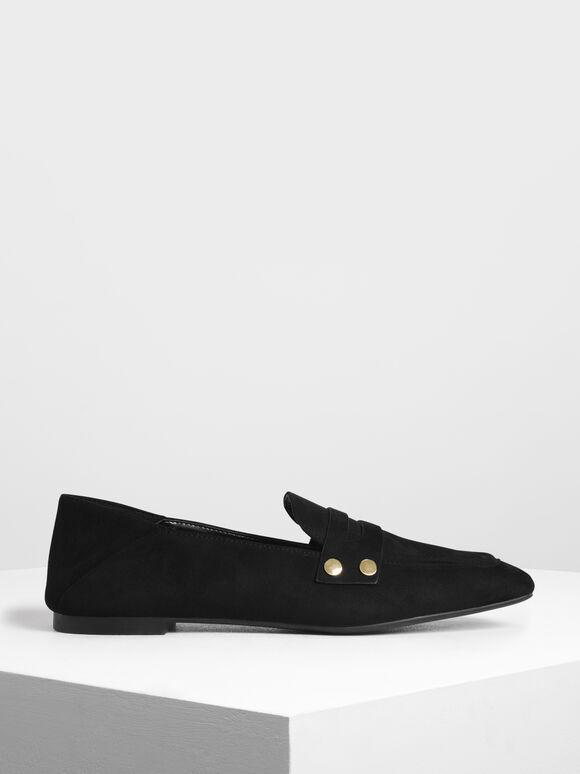 Stud Detail Step Back Penny Loafers, Black, hi-res