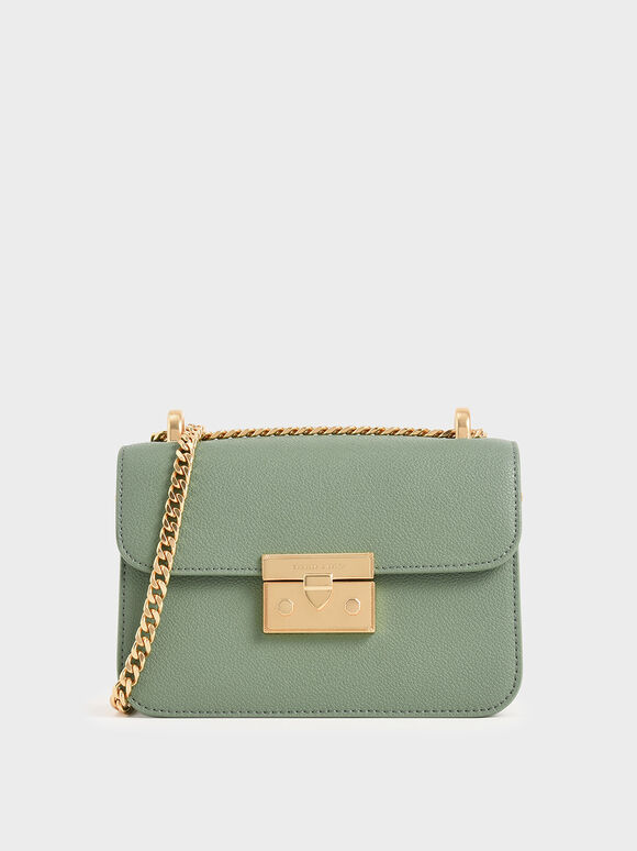 Metallic Push-Lock Evening Bag, Sage Green, hi-res