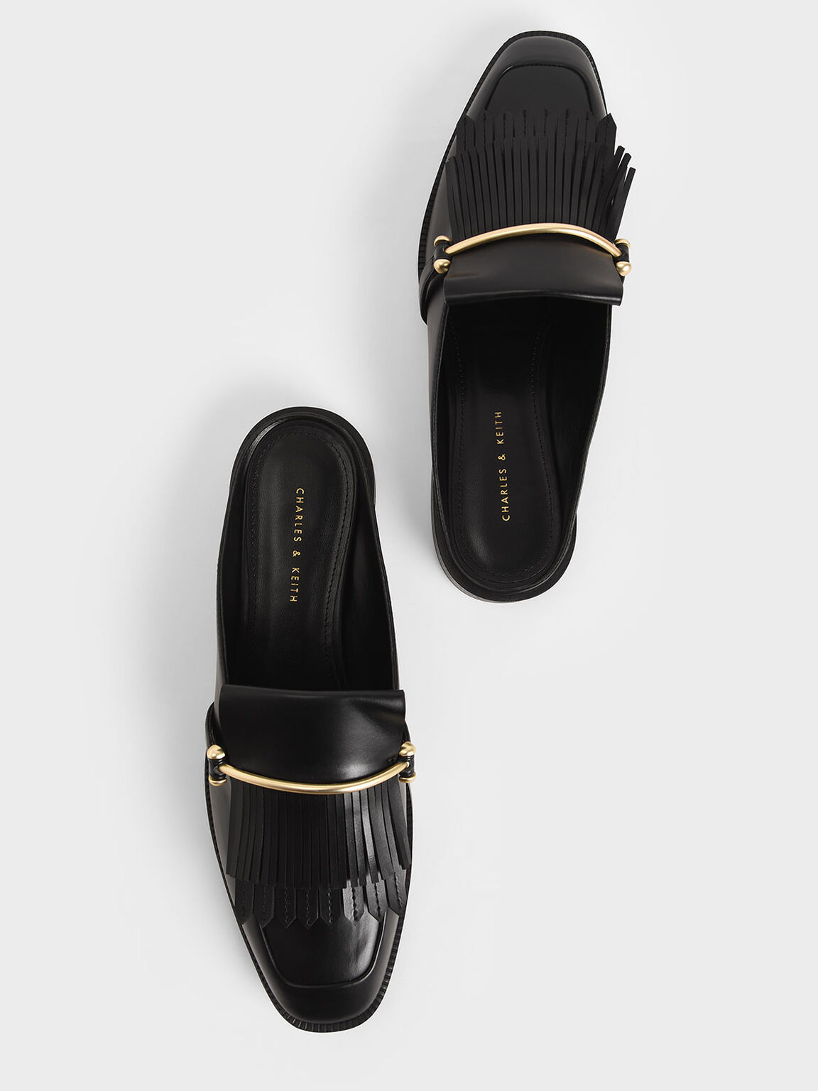 Metallic Accent Fringe Mules, Black, hi-res