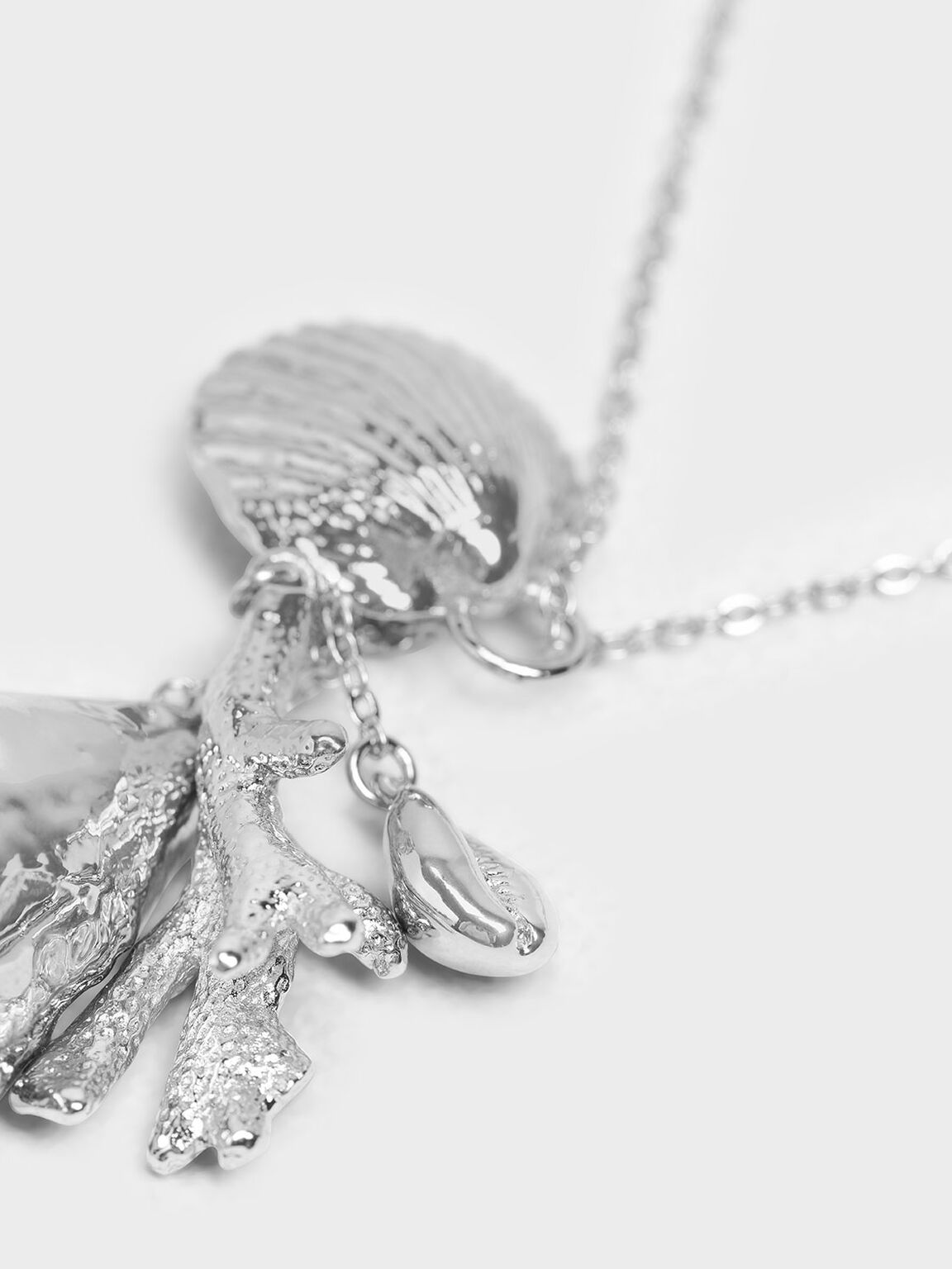 Seashell Pendant Necklace, Silver, hi-res