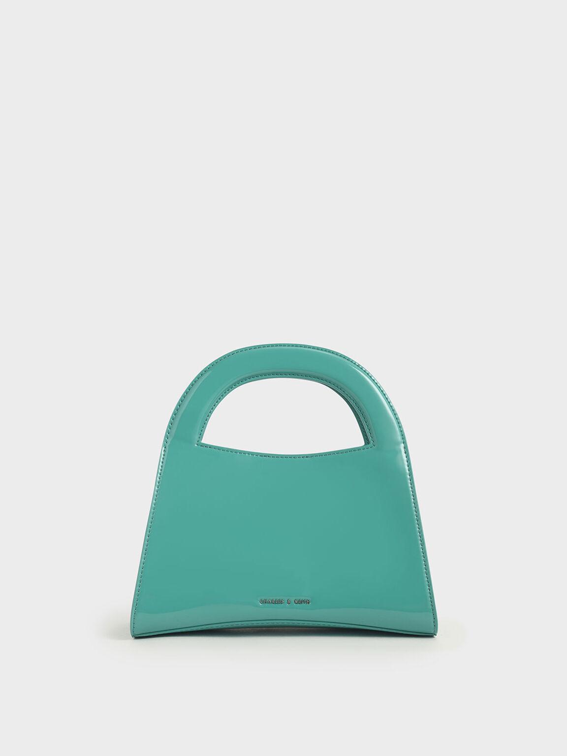 亮面手提包, 藍綠色, hi-res