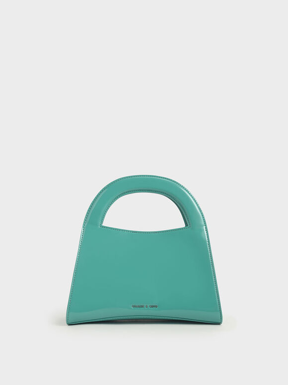 Patent Double Top Handle Handbag, Teal, hi-res