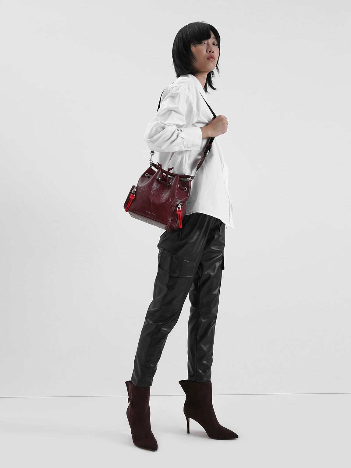 Textured Stiletto Heel Ankle Boots, Burgundy, hi-res