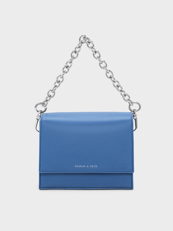 Front Flap Chain Detail Bag, Blue, hi-res