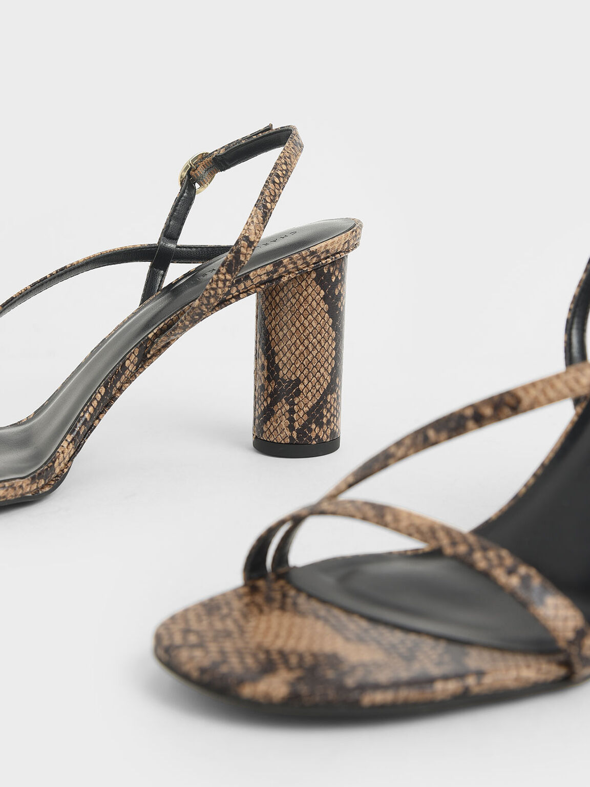 Snake Print Asymmetric Strap Sandals, Brown, hi-res