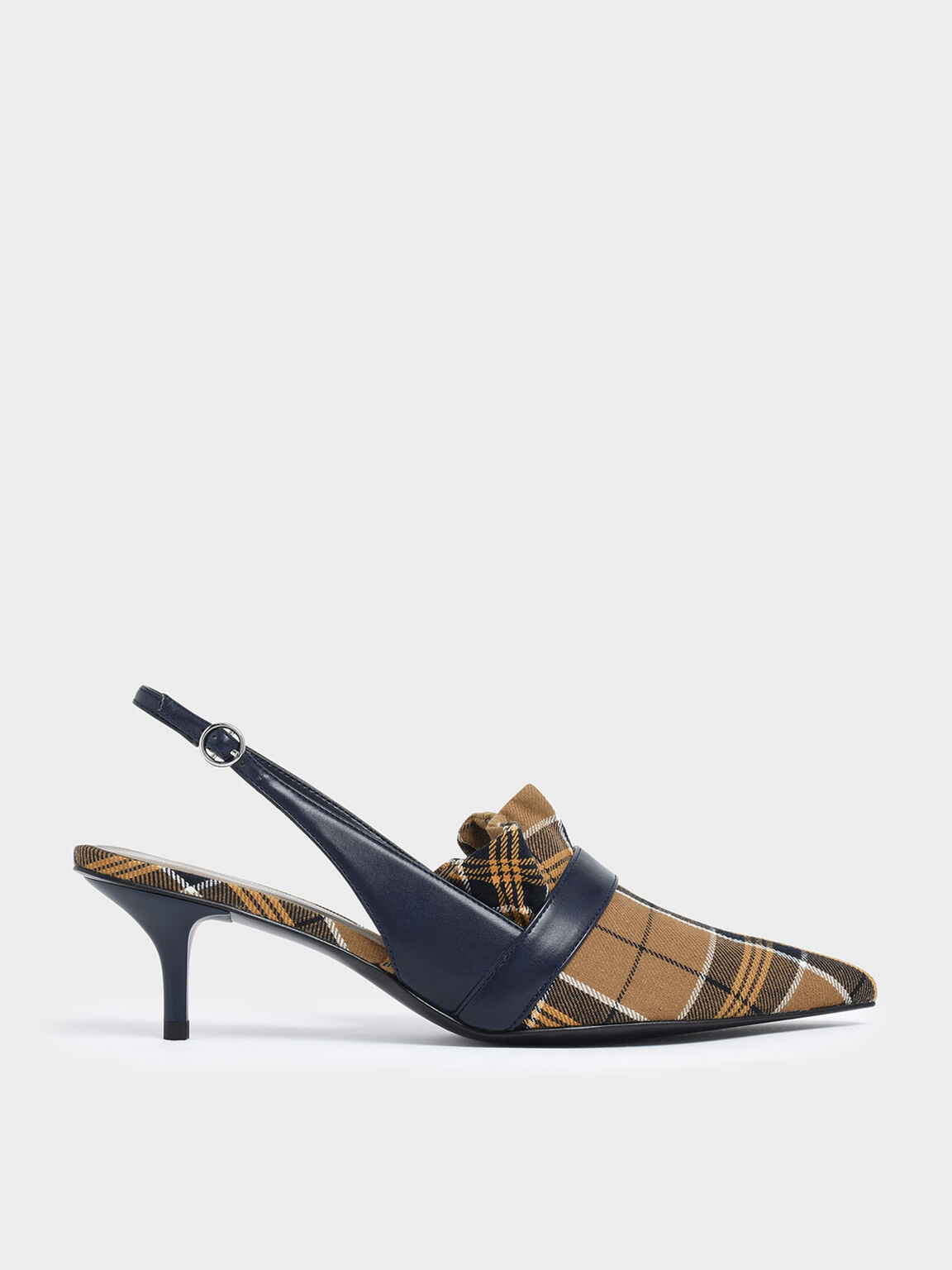 Frill Trim Check Print Slingback Heels, Mustard, hi-res