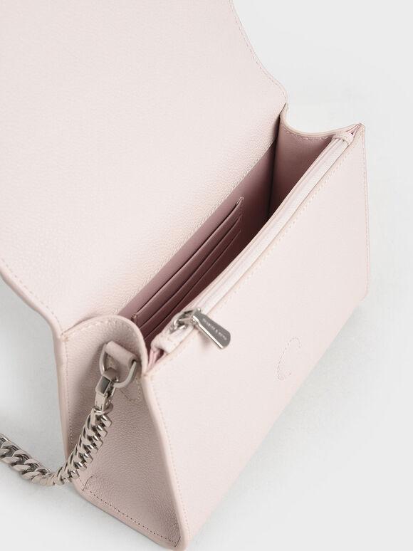 프린트 보우 엔벨롭 클러치, 핑크, hi-res