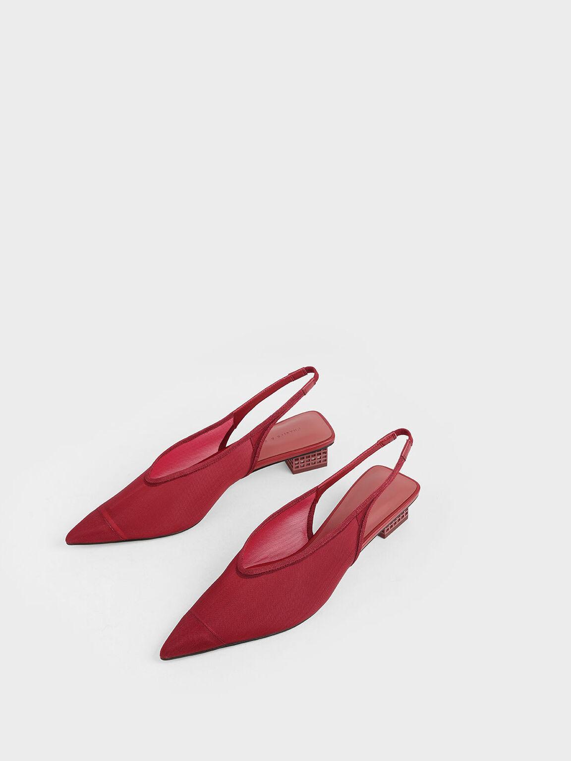 Mesh Slingback Heels, Red, hi-res
