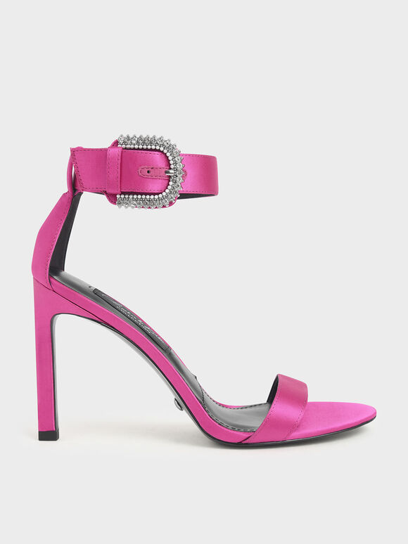 Satin Embellished Buckle Stiletto Heels, Fuchsia, hi-res
