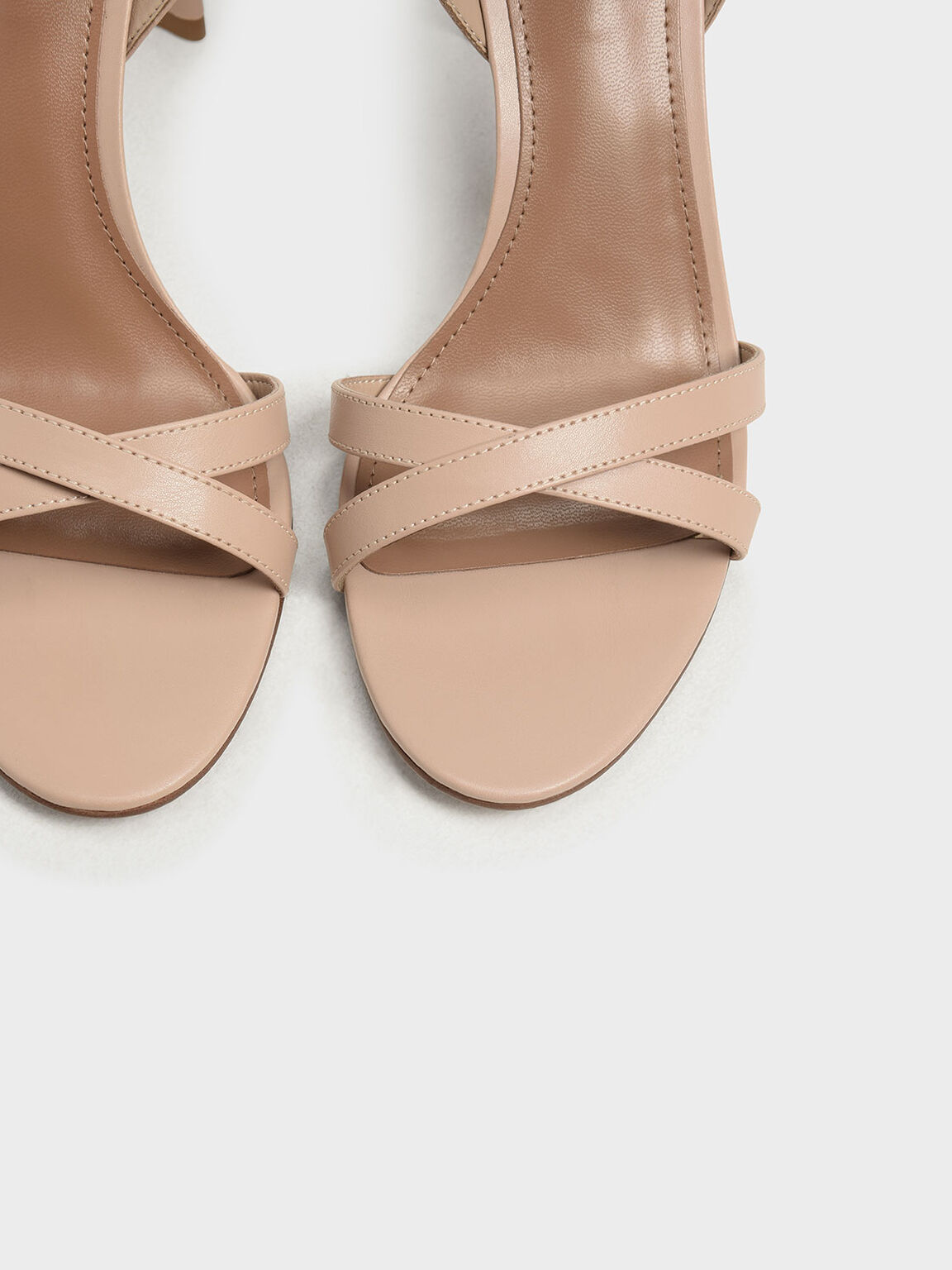 Curved Block Heel Strappy Sandals, Nude, hi-res