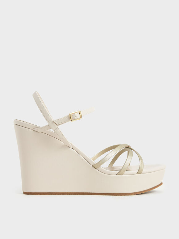 Strappy Wedges, Chalk, hi-res