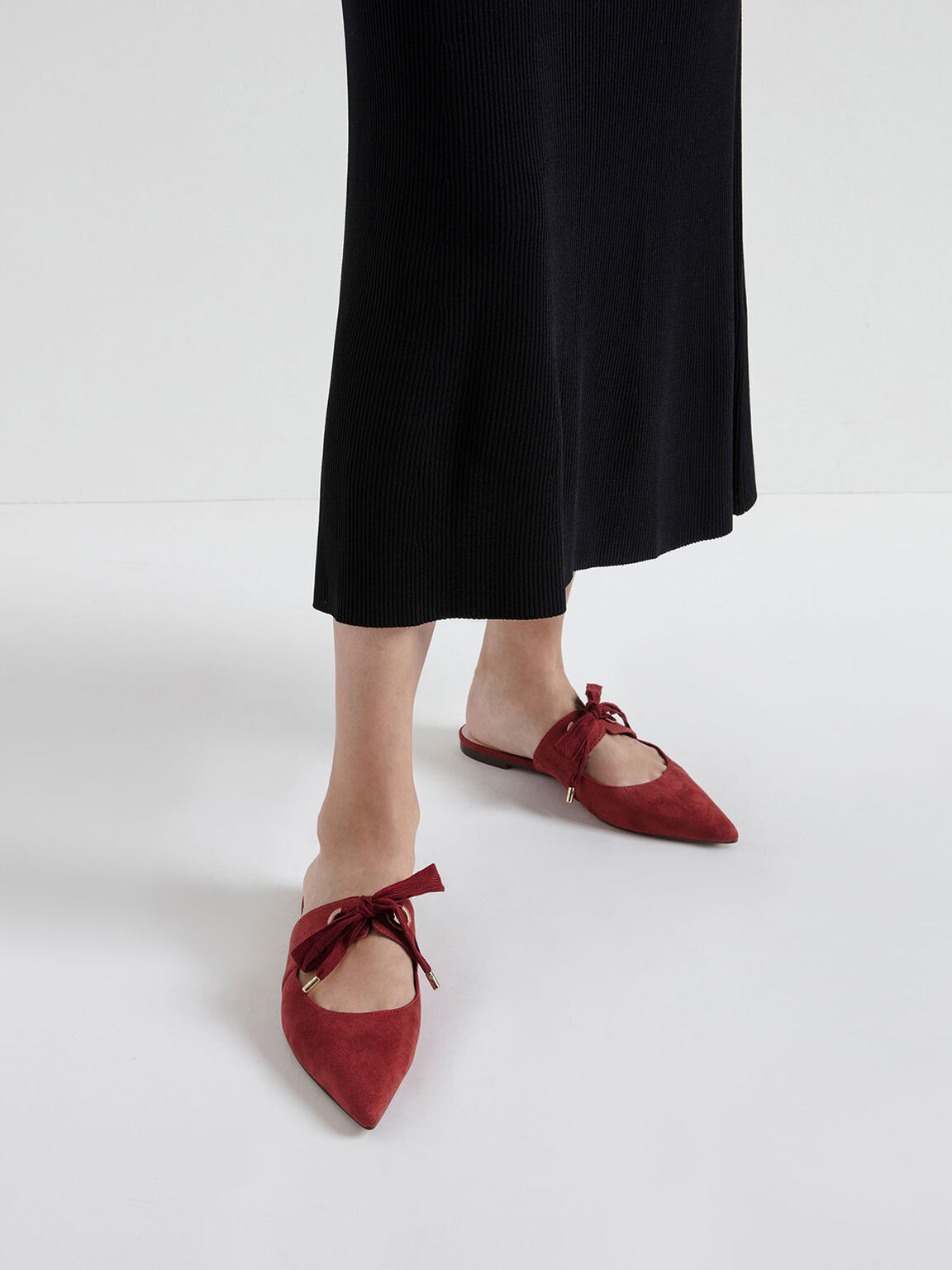 Bow Strap Textured Pointed Toe Mules, Red, hi-res