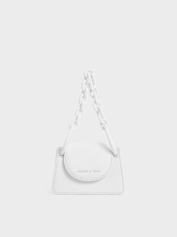 Chunky Chain Handle Mini Bag, White, hi-res