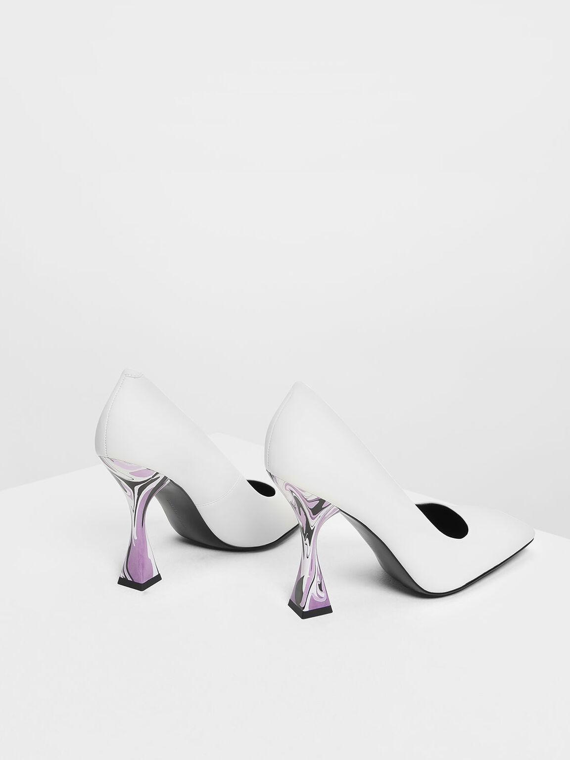 Square Toe Geometric Heel Pumps, White, hi-res