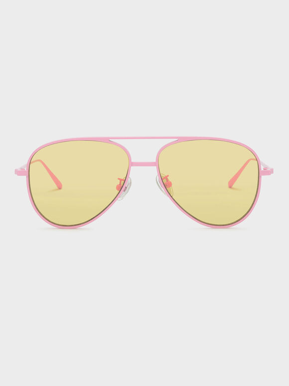 Double-Wired Aviator Shades, Pink, hi-res