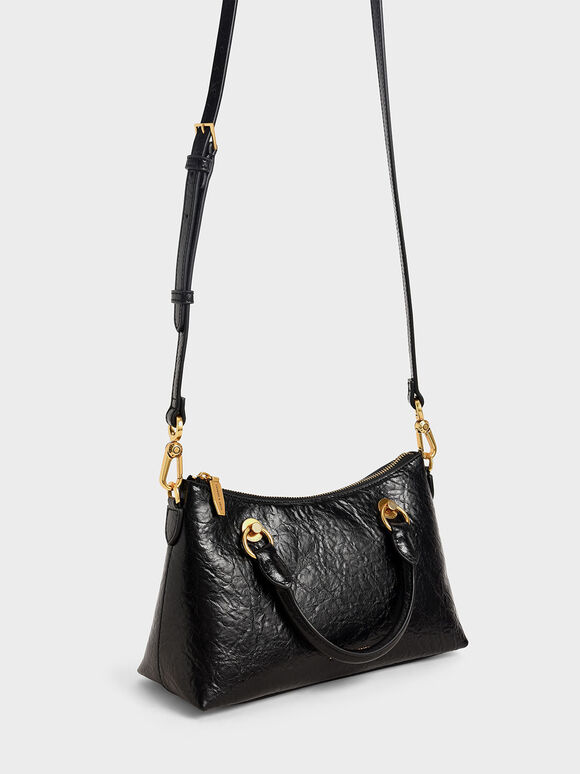 Double Handle Shoulder Bag, Black, hi-res
