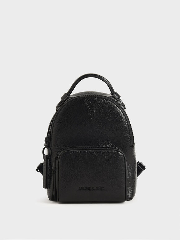 Double Zip Backpack, Black, hi-res