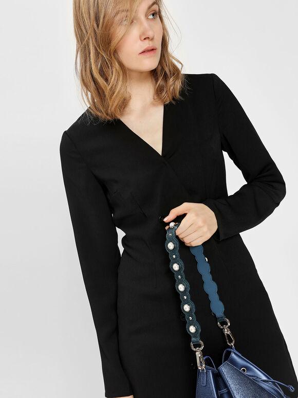 Pearl Embellishment Short Bag Strap, Teal, hi-res