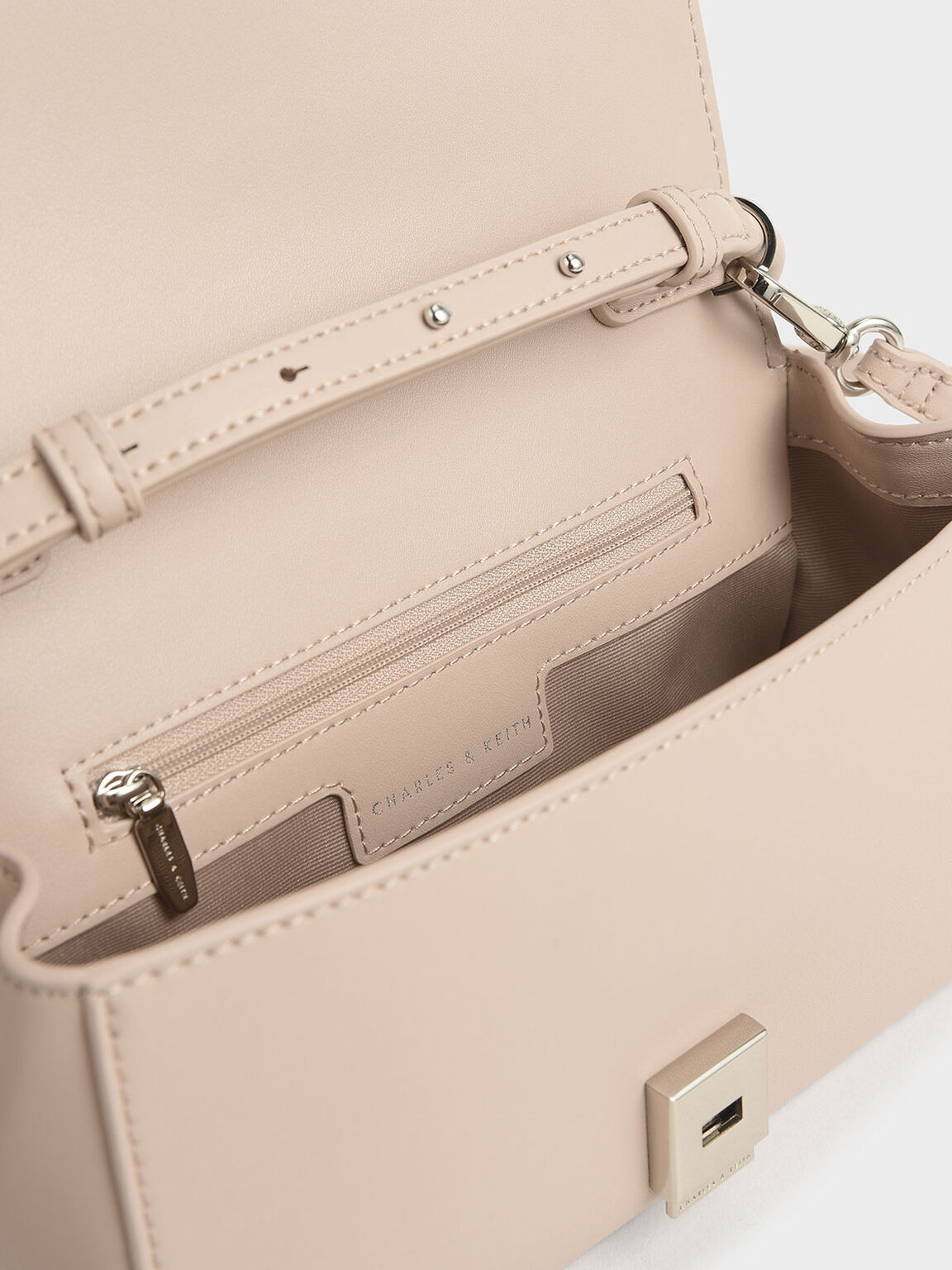 Chunky Chain Handle Mini Shoulder Bag, Nude, hi-res