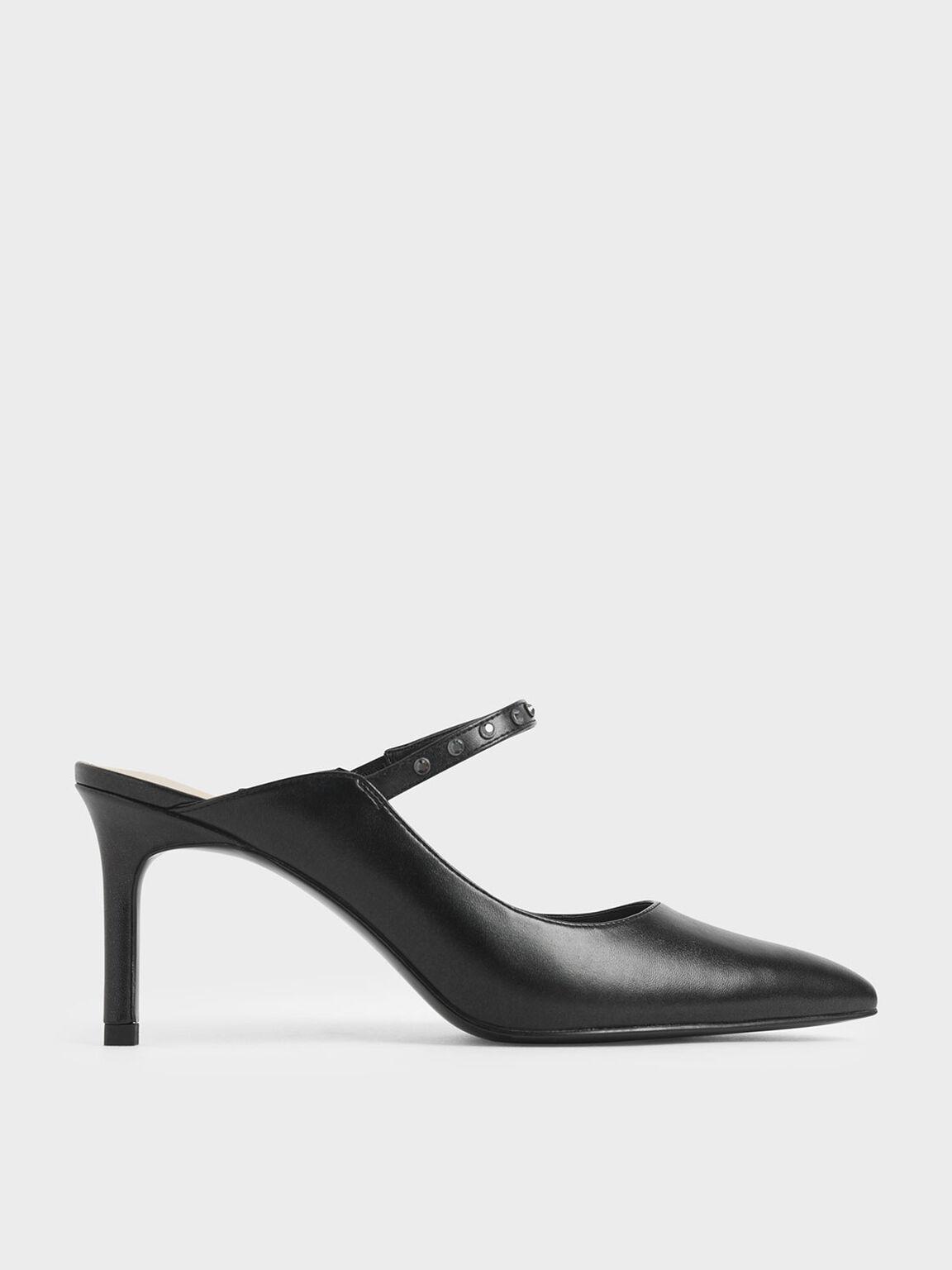 Glossy Embellished Strap Mules, Black, hi-res