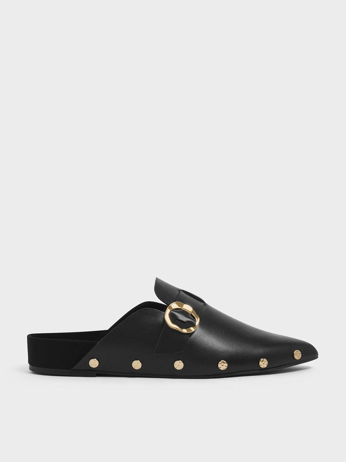 鉚釘穆勒拖鞋, 黑色, hi-res