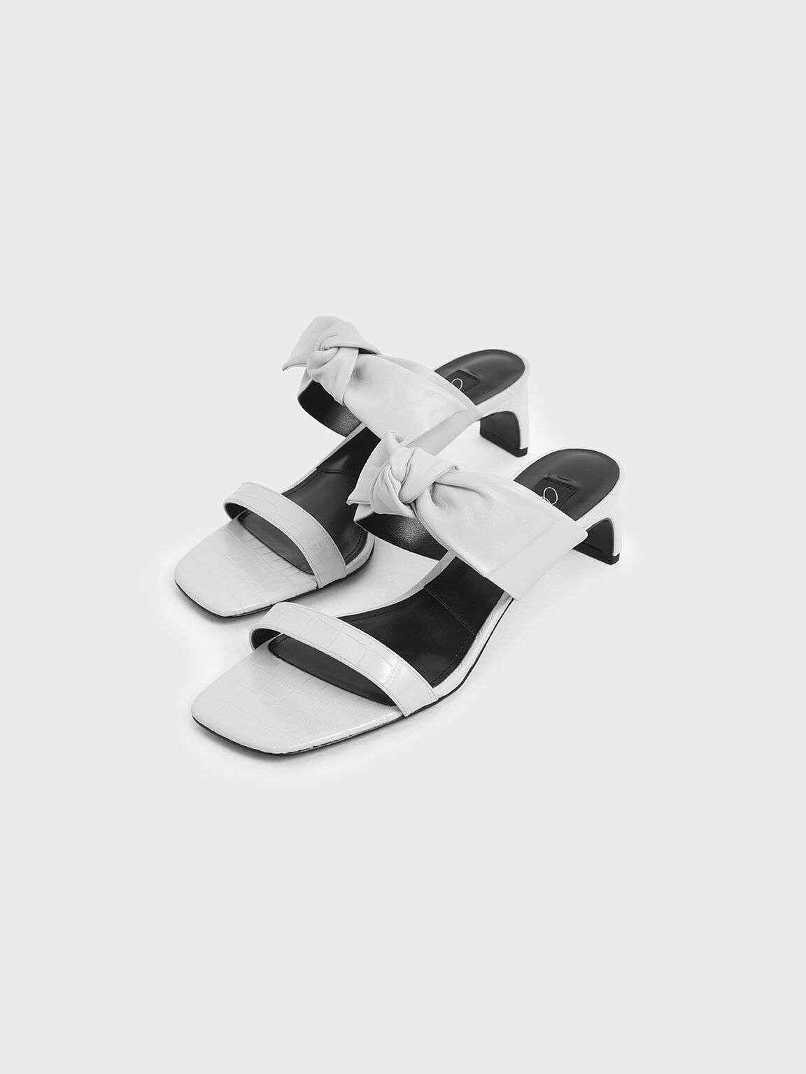 Croc-Effect Bow Leather Mules, White, hi-res