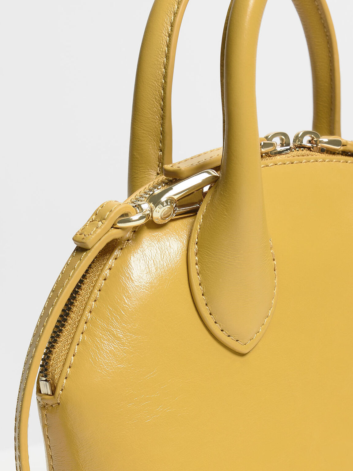 Leather Dome Top Handle Bag, Yellow, hi-res