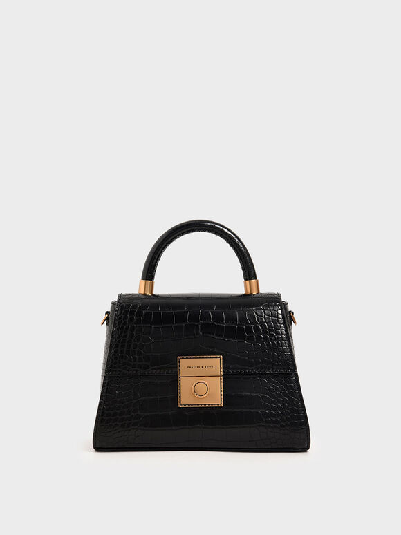 Croc-Effect Structured Bag, Black, hi-res