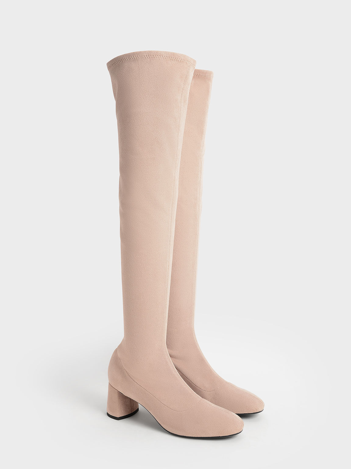Textured Thigh-High Boots, Nude, hi-res