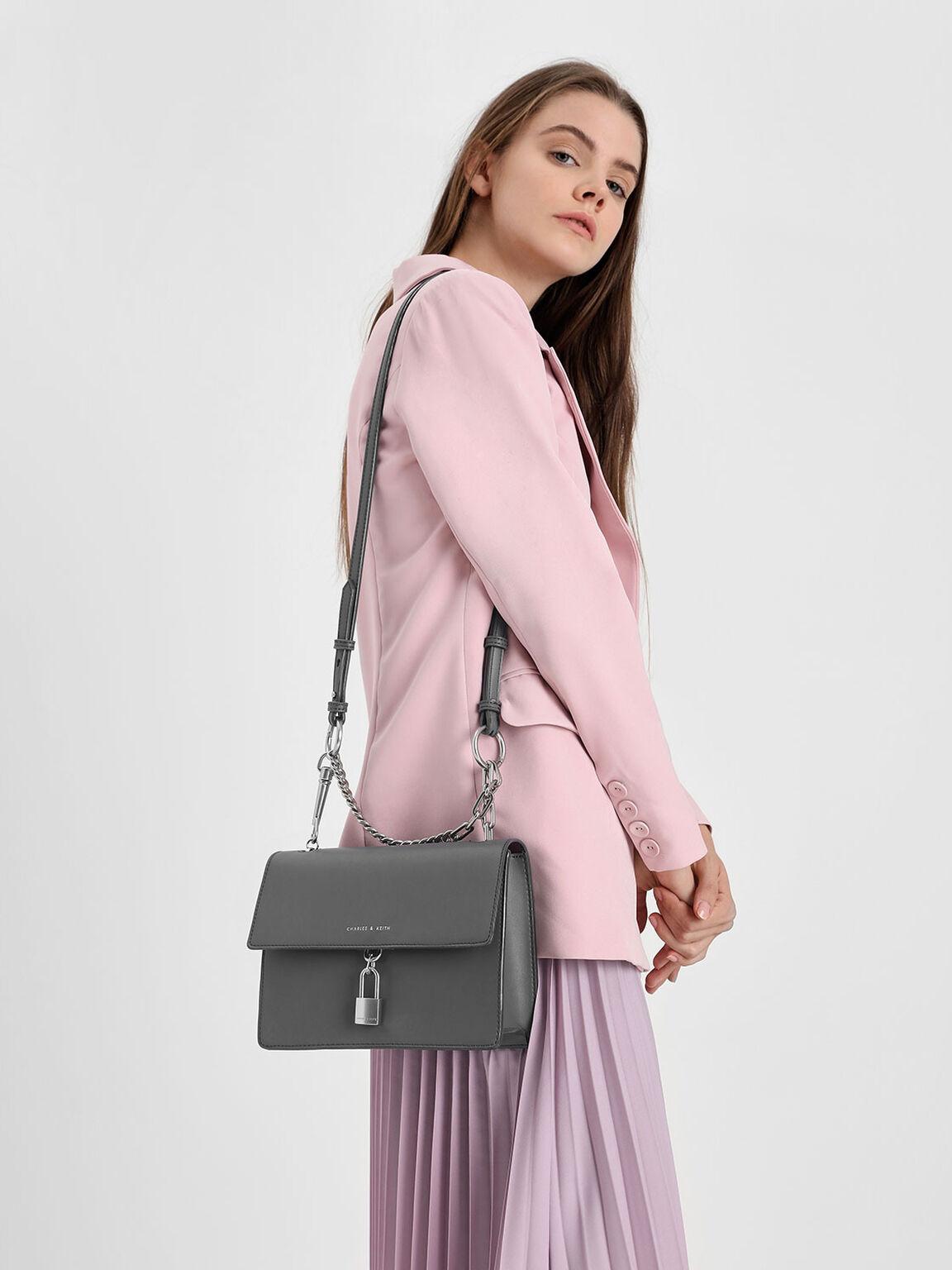 Padlock Shoulder Bag, Grey, hi-res