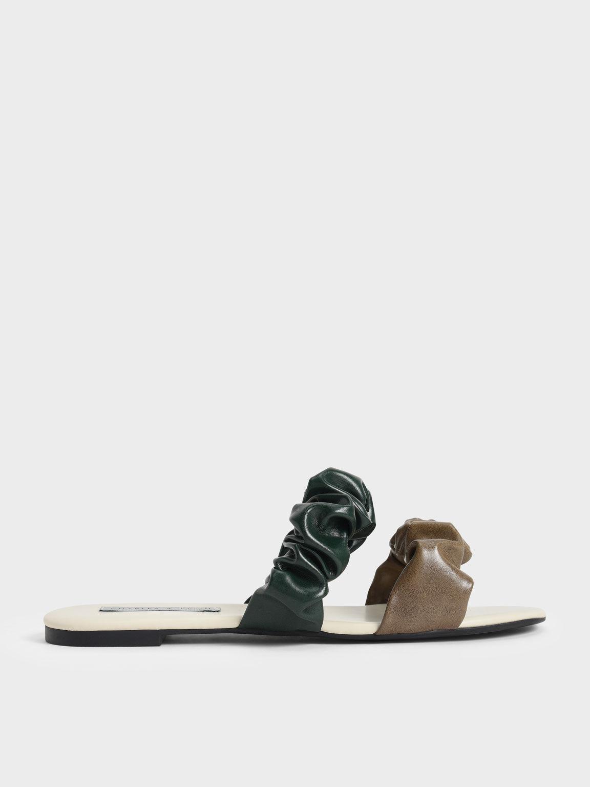 撞色抓皺雙帶拖鞋, 橄欖色, hi-res