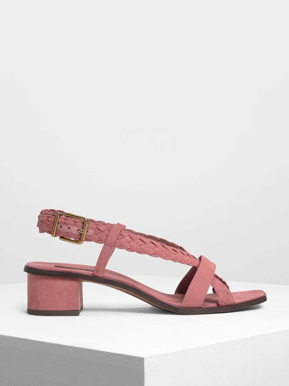 Braided Detail Heeled Sandals, Pink, hi-res
